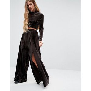 ASOS Glamorous Velvet Front Slit Wide Leg Pant